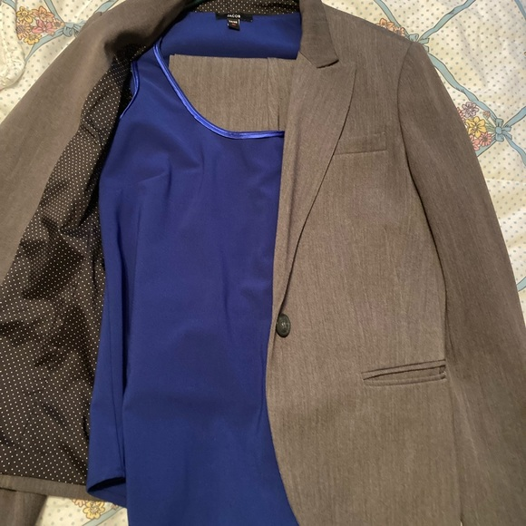 Beige business suit with blue satin ribbed tank